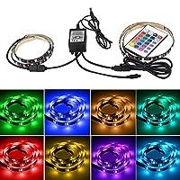 LEDテープライトRGB USB接続 テレビ照明 PC照明 装飾照明 カラフル 24キーリモコン 高輝度 防水防滴 強粘着両面テープ仕様
