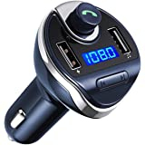 Bluetooth FM Transmitter for Car, Wireless FM Radio Transmitter Adapter Car Kit, Dual USB Charging Ports, Hands Free Calling,