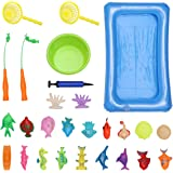 TOYANDONA Magnetic Fishing Game Toys Summer Water Pool Toys Set Pole Rod Net Inflatable Pool Water Table Bathtub Bath Game To