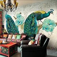 Xueshao カスタム写真壁紙レトロ風景壁画寝室リビングルームテレビの背景ヨーロッパロマンチック孔雀壁紙壁画-120X100Cm