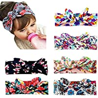 6pcs Baby Girls Headbands Turban Knotted,Newborn Infant Toddler Children Flower Hairbands and Bows Boho Knotted Headwrap Child Hair Accessories
