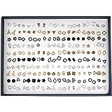 100 Pairs Geometric Stud Earrings, Wisdom1674 Assorted Multiple Stud Earrings Jewelry set With Box, Simple Punk Hip-pop Rock