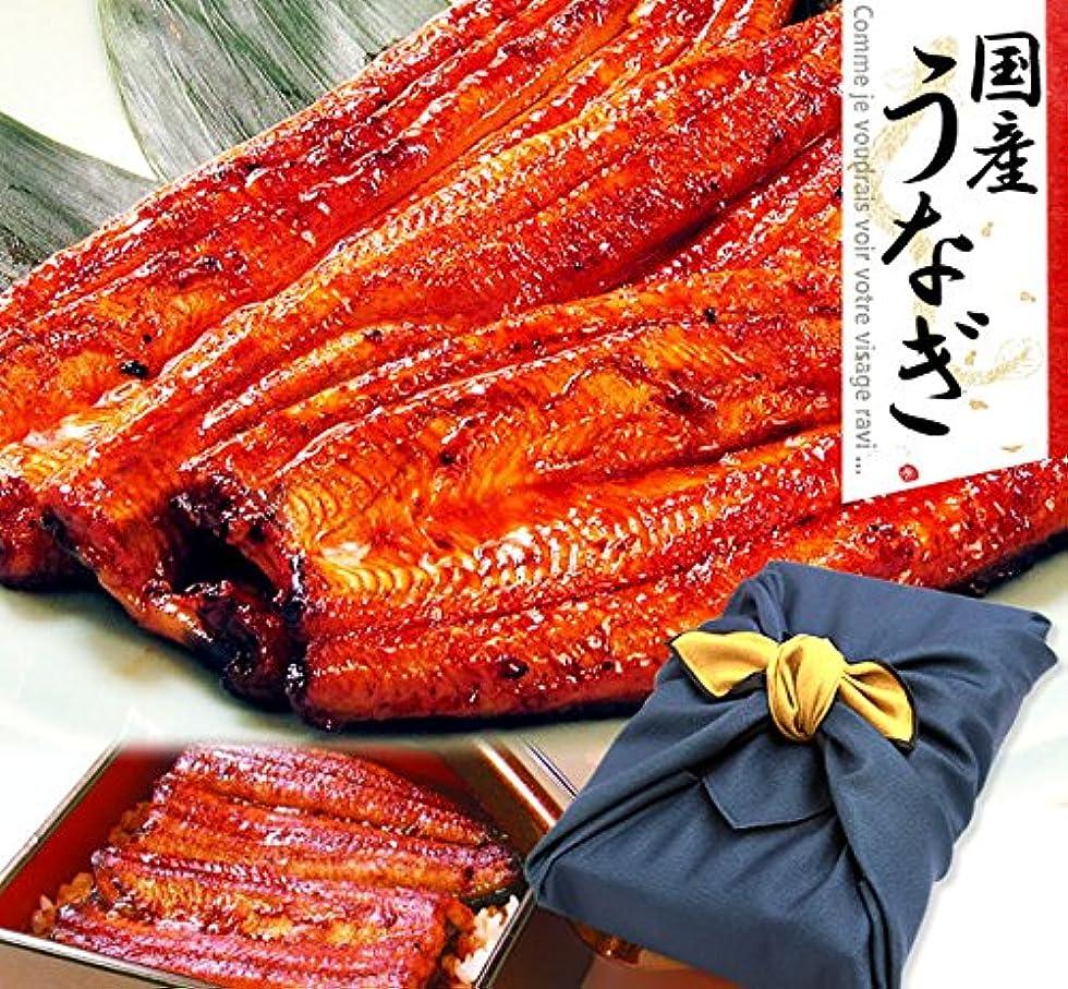 ナラーバー夫婦生物学国産 鰻(うなぎ)の特大長蒲焼き3本セット 風呂敷包み (1.ギフト用)