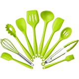 10Pcs/set Silicone Heat Resistant Kitchen Cooking Utensils Non-Stick Baking Tool tongs ladle gadget by BonBon (Green)