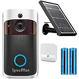 Igreeman Video Doorbell WiFi IP Security Camera, Wireless Powered 720P Realtime Smart Watchdog Surveillance System w/Night Vi