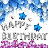 Jyoker 風船 誕生日飾り付けバルーン バースデーサプライズ HAPPY BIRTHDAYパーティー飾り物セット (ブルー)