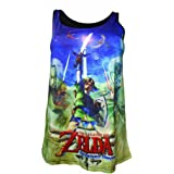 NINTENDO Legend of Zelda Sleeveless Skyward Sword Sublimation Print Top (Large, Blue/Green)