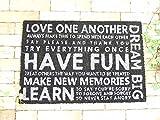 玄関マット 屋外 おしゃれ 薄型 泥落とし 北欧 コイヤーマット 滑り止め 英字広告のようなロゴがモチーフの玄関マット 【HAVE-FUN・ブラック】