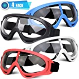 POKONBOY 4 Pack Protective Goggles Safety Glasses Eyewear Face Mask Compatible with Nerf Guns for Kids Teens Game Battle (4 C