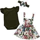 Camidy Baby Toddler Girl RomperFloral Suspender Skirt Bowknot Headband Outfit Set