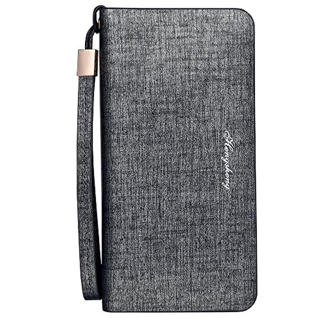 タービン無実腹長財布 ファスナー付き メンズ PUレザー 大容量 高級感溢れる財布 ギフトやプレゼント