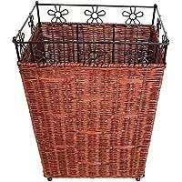 籐の模造竹製織バスケットの汚れた衣類の収納バスケット (色 : A)