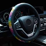 Alusbell Crystal Steering Wheel Cover Colorful Bling Bling Rhinestones Steering Wheel Covers with PU Leather for Women Univer
