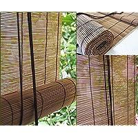 日本製 竹すだれ 88x135㎝ 炭化ブラウン/紐巻上機能付