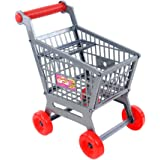 HOMYL Miniature Supermarket Shopping Hand Trolley Cart for Kids Role Play Toy Gray