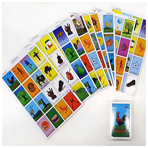 Mexican Loteria Bingoカードゲーム10選手10ボード54カード新しい