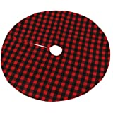 Pannow 35'' Plaid Christmas Tree Skirt, Red and Black Buffalo Plaid Double Layers Checked Mat for Holiday Party Xmas Ornament