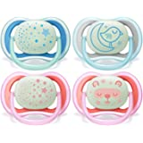 Philips Avent Ultra Air Soother Nighttime, Glow in The Dark, 6-18 Months, 2-Pack, Assorted Colours, SCF376/20
