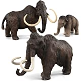 Fantarea 3 PCS Simulation Realistic Ancient Animal Figures Model Figurines Mammoth Family Cake Toppers Playset Eduactional To