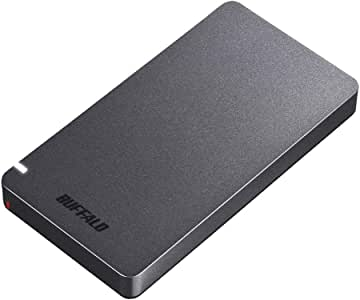 BUFFALO USB3.2Gen2 外付SSD 960GB 名刺サイズ 日本製 PS4(メーカー動作確認済) 耐衝撃・コネクター保護機構 ブラック SSD-PGM960U3-B/N