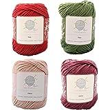 Flora mindfulknits Knitting Yarn, Crochet Yarn & 100% Cotton Yarn for Knitting, Crocheting, Soft & Gentle Worsted Weight Yarn