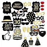 L-Peach happy birthday フォトプロップス 36点セット 撮影小道具 ひげ メガネ 帽子 くちびる ケーキ 宴会 誕生日 二次会 結婚式 ウエディング アイテム 面白い創造的な仮装 グッズ 写真撮影 セット