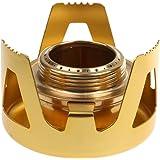 Dovewill 屋外 キャンプ ピクニック 携帯 アルミ ミニ ストーブ アルコールストーブ バーナー 固形燃料用 防風 全5色 - ゴールド