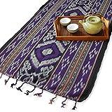 イカット(ワイド) A 【インドネシアの飾り布、テーブルランナー 掛け布 目隠し布 テーブルクロス】 約105×55cm、和風洋風を問わず使い勝手の良い幅広タイプのインテリアクロス