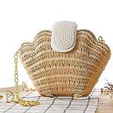 (シカ) Cika かごバッグ ショルダーバッグ レディース 貝殻バッグ 真珠付き 麦わら ビーチバッグ リゾート 海 柔らかい マグネットボタン ホワイト