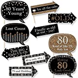Funny Adult 80th Birthday - Gold - Birthday Party Photo Booth Props Kit - 10 Piece [並行輸入品]