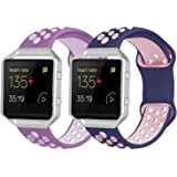2 Pack Bands Compatible with Fitbit Blaze with Silver Frame for Men Women, Soft Silicone Breathable Replacement Sport Accesso