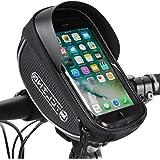 Bike Phone Front Frame Bag, Waterproof Bicycle Cellphone Mount Pack Cycling Top Tube Handlebar Bag Sensitive Touch Screen Lar