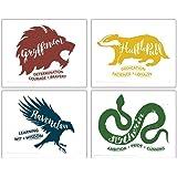 TRENDYPRINT Harry Potter - Hogwarts Houses – Gryffindor Hufflepuff Slytherin Ravenclaw Wall Art UNFRAMED - Set of 4 – Perfect
