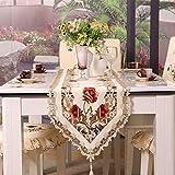 AWHAO ヨーロッパ 刺繍テーブルクロス 円形 テーブルランナー モダン 北欧 おしゃれ 花刺繍 優雅 豪華 (F:40*175cmテーブルランナー)