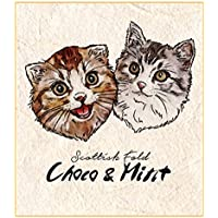 Printon 愛猫ペットの肖像画(二頭 / お顔のみ) 色紙サイズ (デジタル水彩) 作画行程表付き 似顔絵
