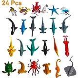 NUOBESTY Sea Fish Figures Ocean Animal Figurine Toys Plastic Shark Model for Children Kids Toddler 24pcs (Mix Model)