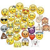 cokohappy Bigサイズemoji-icon Smiley Face写真ブース小道具キット、ブラックとゴールドグリッター、DIYポーズSignパーティーDecoration Supplies – 33 Printedピースwith木製Sticks