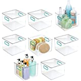 mDesign Plastic Storage Bin with Handles for Organizing Hand Soaps, Body Wash, Shampoos, Lotion, Conditioners, Hand Towels, H