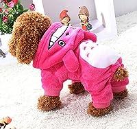 ペット犬の服、珊瑚ベルベット冬の犬ファッションデザインフードコートペット小型犬の服のジャケット犬のコスチュームウォームカジュアルパーカーコート3色&6サイズ (Color : Pink, Size : XS)
