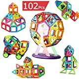 AUGYMERマグネット 知育玩具 子供 磁石 3d立体パズル 【磁気ブロック56個 他の車輪・観覧車・パネルパーツ52個】