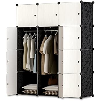 iOCHOW ワードローブ 105x45x140cm 四段階 北欧風 収納ケース 衣類 環境保護樹脂 耐久性 鉄筋の骨組 耐荷重