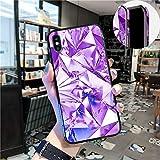 SevenPanda iPhone XS Maxケース、強化ガラスパターンコーチシェルキラキラ真珠光沢描きました鏡バンパー輝く笑うカバーカラフルなグリッドオーロラダイヤモンド纹 iPhone XS Max用 - 白