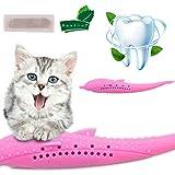 猫歯ブラシ 猫用おもちゃ 魚かたち シリコン製 猫のかむ玩具クリーナー 口腔ケア ペット用 歯石 歯垢 除去 耐久性 無…