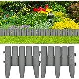 vidaXL 36x Lawn Edgings Outdoor Garden Grass Plant Fencing Panel Border Barrier Grey 10m PP
