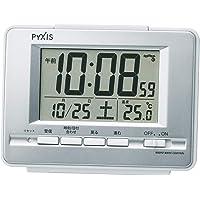 セイコークロック 置き時計 01:銀色メタリック 本体サイズ:9.0×12.3×4.6cm 電波 デジタル 温度 表示…