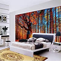 Wuyyii 壁紙3Dバルコニーの森風景赤の葉の背景モダンヨーロッパ壁画用リビングルーム絵画家の装飾-400X280Cm