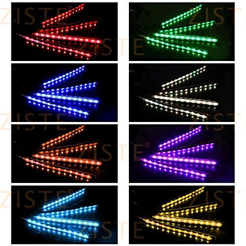 ZISTE 新型!USB式 防水 高輝度 高品質 RGB LEDテープ 音に反応サウンドセンサー内蔵 フルカラー 足下照明 フットランプ 車内装飾用 多種フラッシュモード 全8色に切替 USBカーチャージャーとリモコン付き(一年保証)