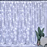 Window Curtain Lights 300 LED Upgraded Bigger Bulbs USB Plug in Fairy Lights 8 Modes Remote Control Curtain String Lights Wat
