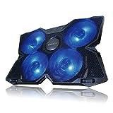 [リベルタ]LIBERTA ノートパソコン 冷却ファン 冷却パッド 冷却台 ノートPCクーラー 静音 クール USBポート2口 USB接続 LED搭載 4ファン 15.6インチ 17インチ ブラック ブルー