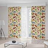 TecBillion ドアカーテン 子供用 リビングルーム フラワーモチーフ シャビーカラー ヴィンテージ装飾パターン 幾何学模様 70W X 98L Inches Z14_B_1_318_08_174386